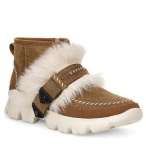 UGG Fluff Punk Ankle Boots In Chestnut